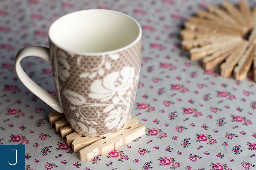 Drewniane podkładki pod kubek - kwiaty | Justine Crafts
