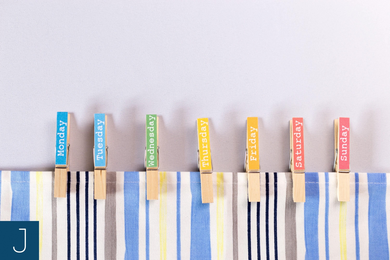 Drewniane klamerki - dni tygodnia | Justine Crafts