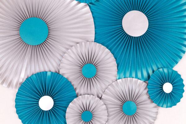 Justine Crafts | Rozety srebrne i niebieskie