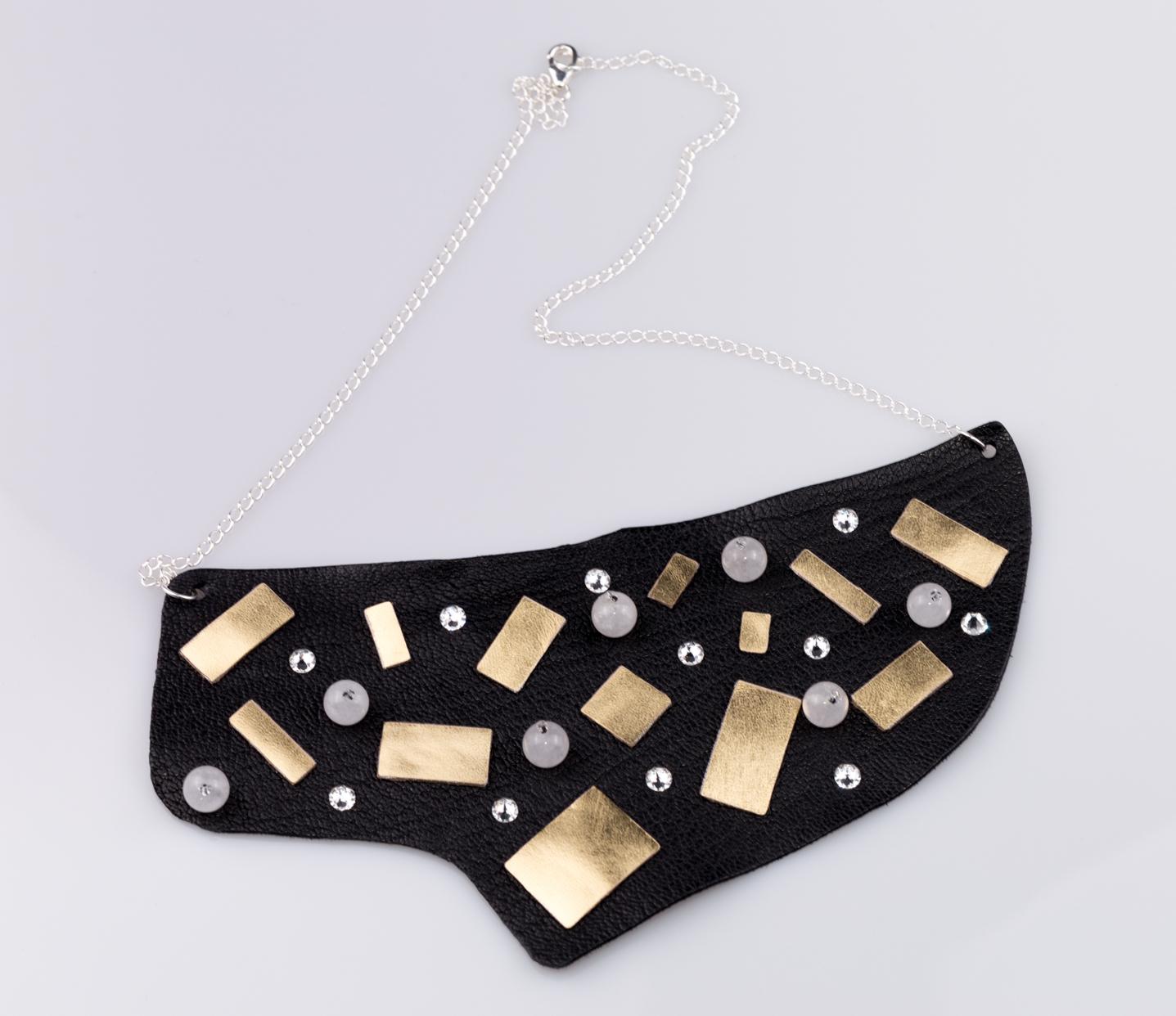 Naszyjnik i bransoletka ze skóry naturalnej | Justine Crafts
