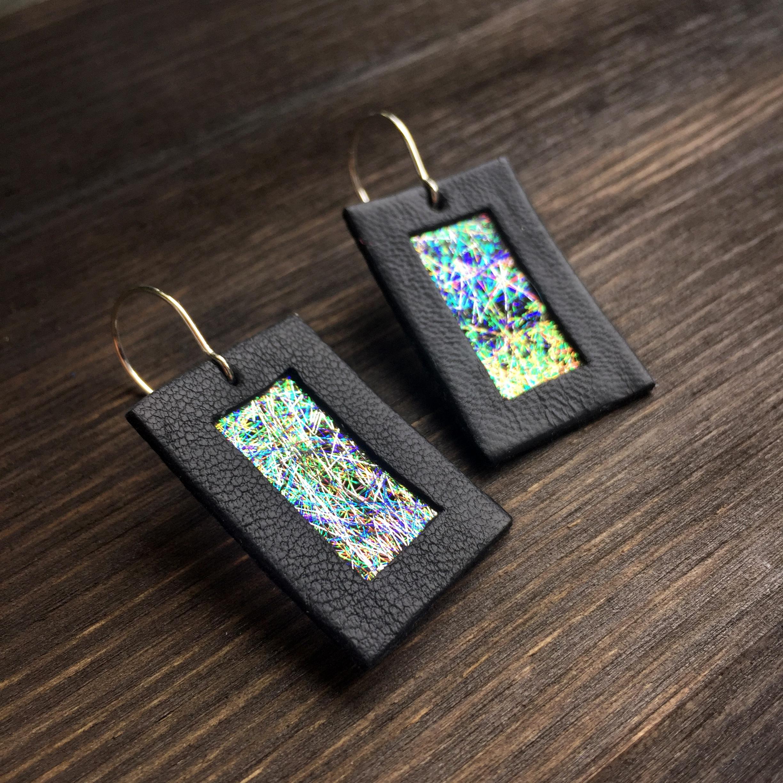 Kolczyki wiszące ze skóry 3 cm | Justine Crafts Jewelry