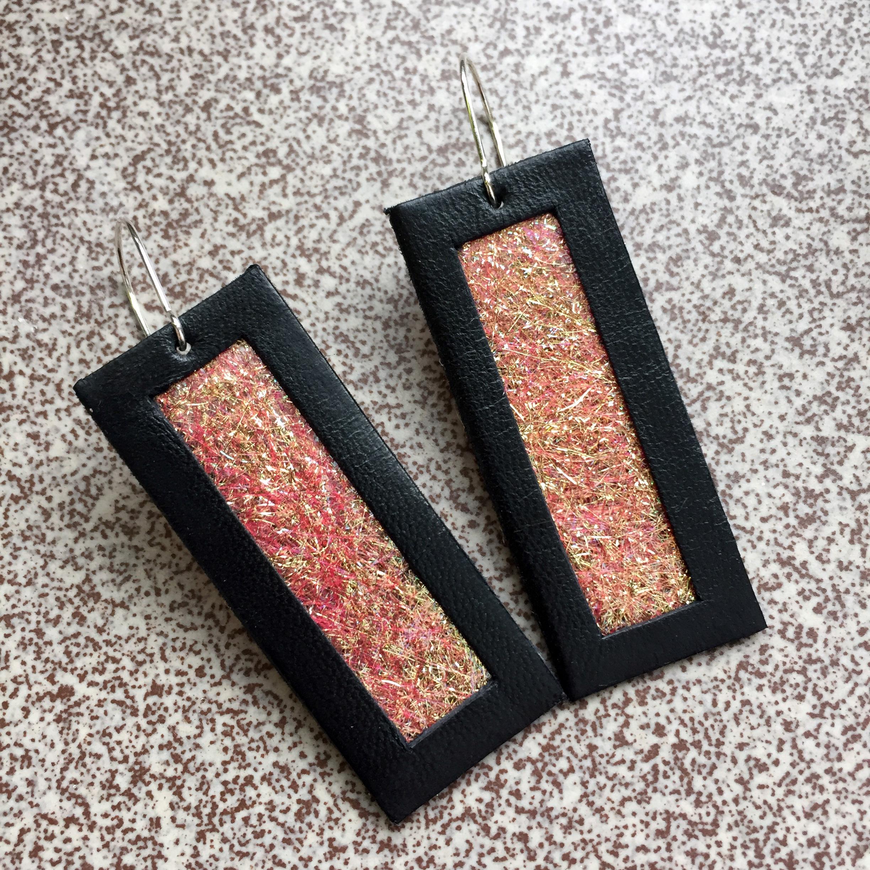 Kolczyki wiszące ze skóry 5 cm | Justine Crafts Jewelry